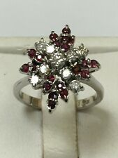 Magnificent 18 Carat White Gold RUBY & DIAMOND CLUSTER Ring
