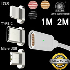 Braided Magnetic Plug Micro USB Charger Charging Cable For iPhone Samsung Type-C