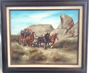 Vtg Framed Original Western Oil Painting, Stage Coach, 4 Horse Team - T Sanders
