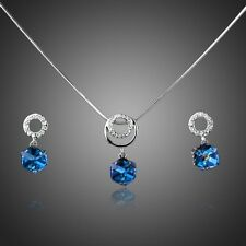 New White Gold Plated Blue Cube Clear Crystal Jewelry Set Chain Pendant Earrings