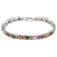 Sterling Silver Genuine Natural Colours of Tourmaline Bracelet 7 1/2 Inch