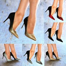 Ladies Pointed Toe Ombre Stiletto Heels Classy Glitter Patent Closed Toe Shoes
