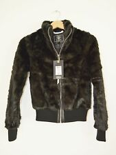 Lipsy Cropped Faux Fur black Bomber Jacket women size 4 / XS BNWT RRP £85