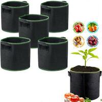 5 Pcs Plant Bag Grow Bags Home Garden Vegetable Planter Container Pot W/ handles