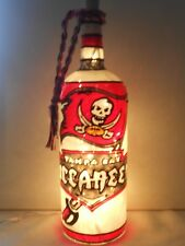 Tampa Bay Buccaneers Inspiered Hand Painted Lighted Wine Bottle StainedGlassLook