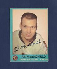 AB McDonald signed Chicago Blackhawks 1962 Topps hockey card
