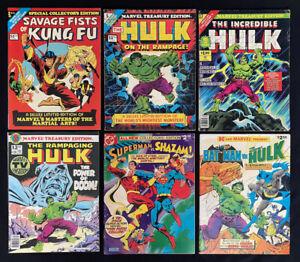 Treasury Comic Lot of 6 (Marvel & DC 1975) Hulk, Batman, Superman ~ Bronze Age ~