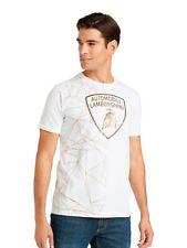 Lamborghini Men's Metallic Shield T-Shirt White