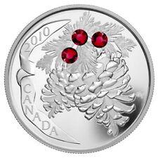 Canada 2010 Holiday Pinecone RUBY Swarovski Crystals $20 Pure Silver Proof OGP