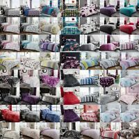 Duvet Cover With Pillow Cases Polycotton Bedding Set Single Double King All Size