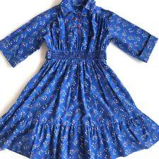 Vintage Polly Flinders Size 10 Hand Smocked Blue Floral Prairie Dress 3/4 Sleeve