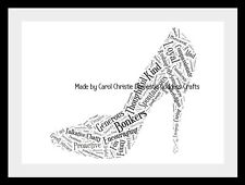 Shoe Word Art, High Heel Print.21st 30th 40th birthday gift. Gift For Her, 18th