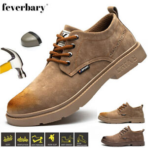 Men's Casual Waterproof Safey Boots Leather Work Trainer Composite Cap Toe Shoes