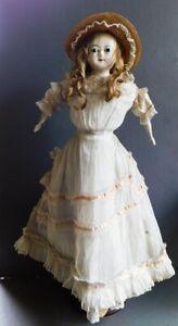 "Antique Wax Over Paper Mache Doll Glass Eyes England Slit Head 24"" White Dress"