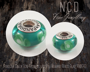 NC Designs Authentic Pandora Green Teal Flowers for You Murano Glass Bead 790643