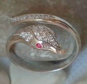 SOLID STERLING 925 SILVER JEWELRY WHITE ZIRCONIA SNAKE DESIGN RING