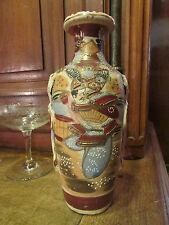 ancien vase japonais faience satzuma decor de personnages signé