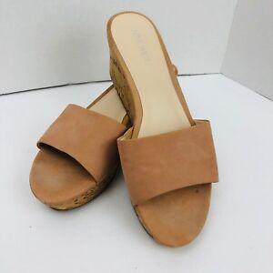 Nine West NWConfetty Size 9 M Slide Sandal Beige Leather Platform Wedge Shoe
