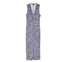 Tommy Bahama Blue Maxi Dress Size Medium Floral Design Twist Front Stretch M
