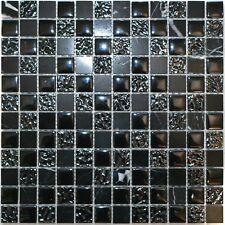 Decor8 NERO MIX MARBLE MOSAIC TILE 300x300x8mm Textured Glass BLACK