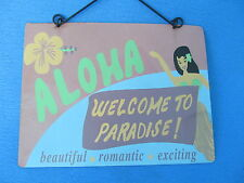 Welcome to Paradise Aloha Tropical Deck Porch Sign Hawaii