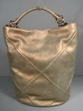 Ferragamo Metallic Gold Lambskin Leather Bucket Hobo Handbag Tote Purse Discount