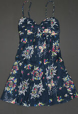 NWT! ABERCROMBIE by Hollister Womens Floral Summer Sun Dress Navy M $68