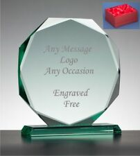 Personalised Engraved Glass OCTAGON Trophy Award - Corporate Staff Recognition