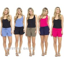 Womens Summer Shorts Jersey Cotton Ladies Holiday Hotpants Sizes 10 12 14 16 18 Pink 8-10