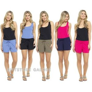 Ladies Cotton Jersey Shorts Womens Lounge Summer Beach Hot Pants Shorts