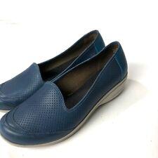 Dansko Marjorie Loafer Shoes 41 10.5 11 Blue Perforated Leather Slip On Comfort