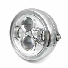 """Chrome Motorcycle LED 6.5"""" Projector Headlight Fit Harley Cruiser Cafe Racer"""