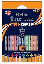Helix Oxford Tri-Grip 1.0mm Line Width Needle Point Tip Pens ASSTD COLOURS 10 Pk