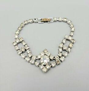 "Vintage Clear Chaton Fancy Prong Set Rhinestone Rhodium Plated Bracelet 6.75"""
