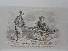 Gravure 1860 - Brouette de voyage en Chine