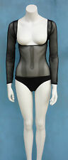 Black Mesh Body Stocking, Brief, Sleeves, Belly Dance, Costumes Medium