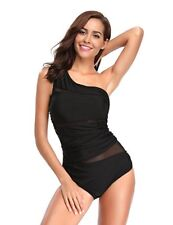 NWT Womens One Piece Ruching Mesh One Shoulder Black Swimsuit 5XL FREE SHIP 127
