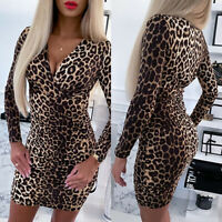 Womens Leopard Print Slim Fit Bodycon Dress Ladies Party Mini Dresses Clubwear