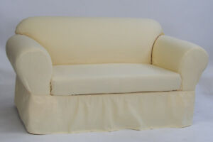 Ruffled Cotton Armchair Slipcover 2 pc Butter Yellow