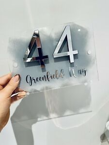 Personalised Acrylic House Sign door 3D numbers Various Colours With Fitting Kit