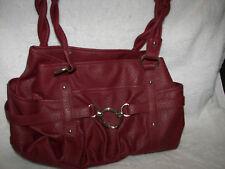 "Purse Satchel Handbag  burgundy  15 x10"" x 5"" Large purse Liekwnnw silver hardwa"