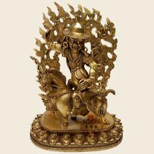 "13"" Tibet Tibetan Buddhism copper gilt protect Buddhist doctrine sheep statue"