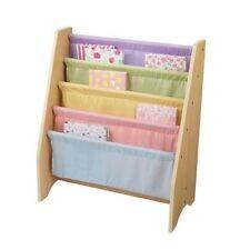 Kidkraft Pastel Wooden 4 Tier Canvas Sling Bookshelf 14225
