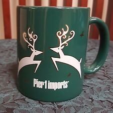 Pier 1 Imports Jumping Gold Accent Reindeer Green Coffee Mug Christmas Holiday