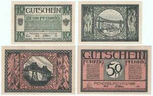 "RENDSBURG 1918: ""Rendsburger Hochbrücke"", 2x NOTGELD"