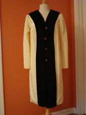 Vintage 1960's Coat, Ivory Color Rayon with Black Fur Collar, Large