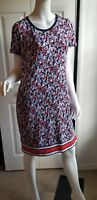 Michael Kors Coral Reef Shift Shirt Dress Floral Blue White Jersey LOGO M NWT$99