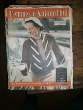 Femmes d'aujourd'hui N° 357 1952 Mode vintage  patrons Couture Broderie Robe