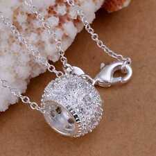 Hot 925Sterling Solid Silver Jewelry Crystal Beads Chain Pendant Necklace P024