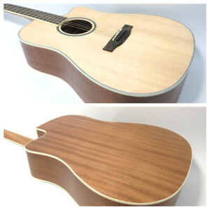 """Haze CD-60SC-N 41"""" Solid Spruce Top Acoustic Guitar, Satin Natural, Dreadnought"""